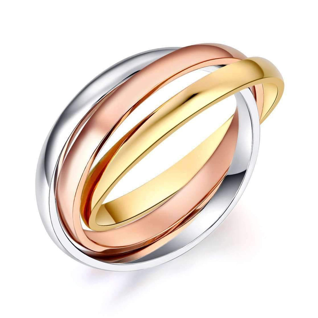 14k Mixed Golds Entwined Wedding Band Women Wedding Bands Oanthan US Size 4