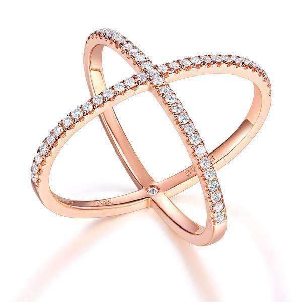 14k Rose Gold Crossover Ring with Diamonds (0.37ct) Women Wedding Bands Oanthan 14k White Gold US Size 4