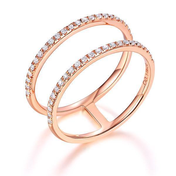 14k Rose Gold Double Ring with Diamonds (0.18ct) Women Wedding Bands Oanthan 14k White Gold US Size 4