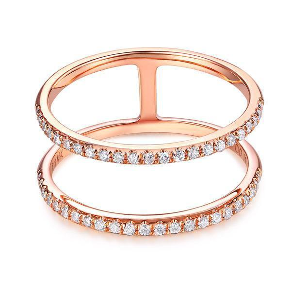 14k Rose Gold Double Ring with Diamonds (0.18ct) Women Wedding Bands Oanthan