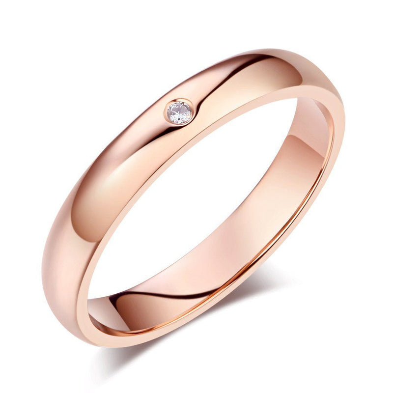 14k Rose Gold Ring with Diamond (0.01ct) Women Wedding Bands Oanthan 14k White Gold US Size 4