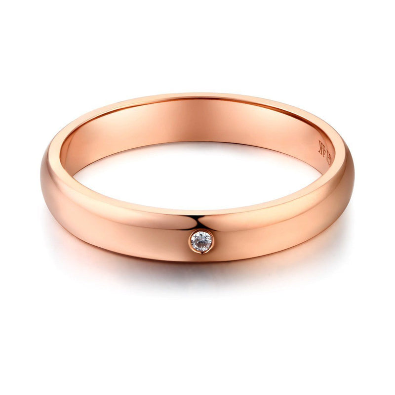 14k Rose Gold Ring with Diamond (0.01ct) Women Wedding Bands Oanthan