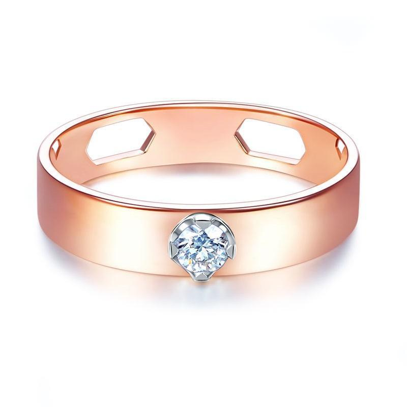 14k Rose Gold Ring with Diamond (0.1ct) Her Wedding Band Oanthan