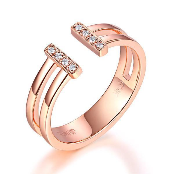 14k Rose Gold Ring with Diamonds (0.04ct) Women Wedding Bands Oanthan 14k White Gold US Size 4