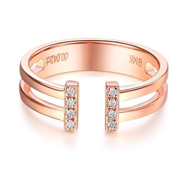 14k Rose Gold Ring with Diamonds (0.04ct) Women Wedding Bands Oanthan