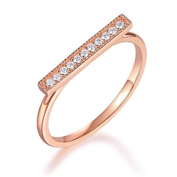 14k Rose Gold Ring with Diamonds (0.07ct) Her Wedding Band Oanthan 14k White Gold US Size 4