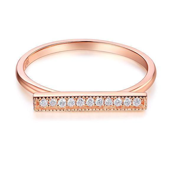 14k Rose Gold Ring with Diamonds (0.07ct) Her Wedding Band Oanthan