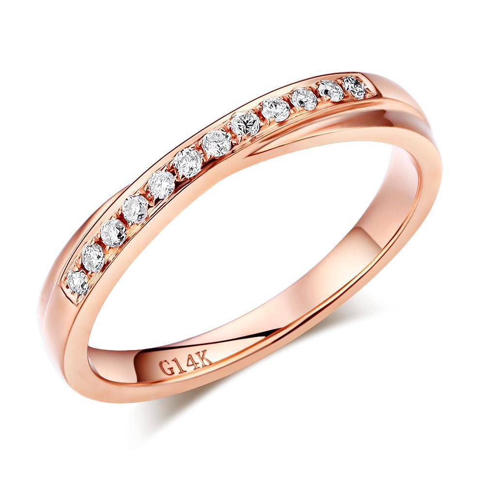 14k Rose Gold Ring with Diamonds (0.14ct) Women Wedding Bands Oanthan 14k White Gold US Size 4