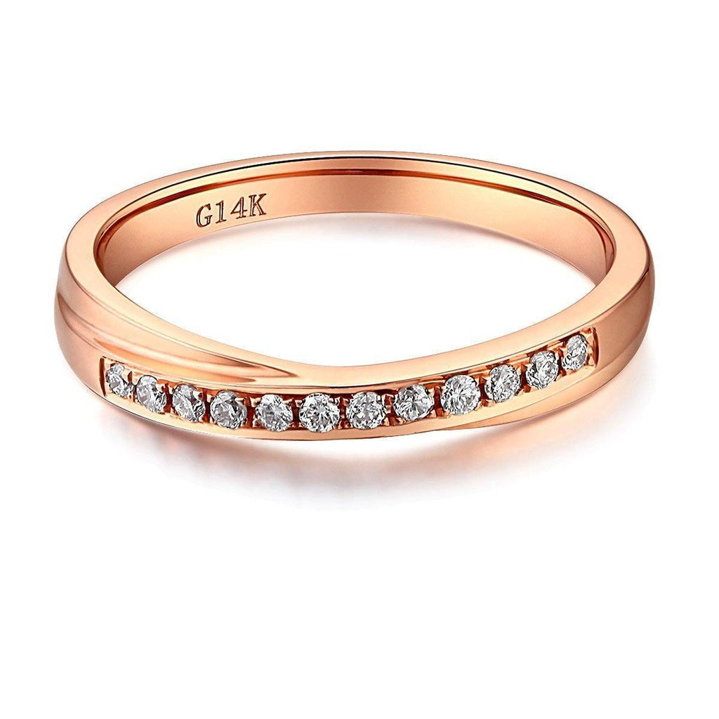 14k Rose Gold Ring with Diamonds (0.14ct) Women Wedding Bands Oanthan