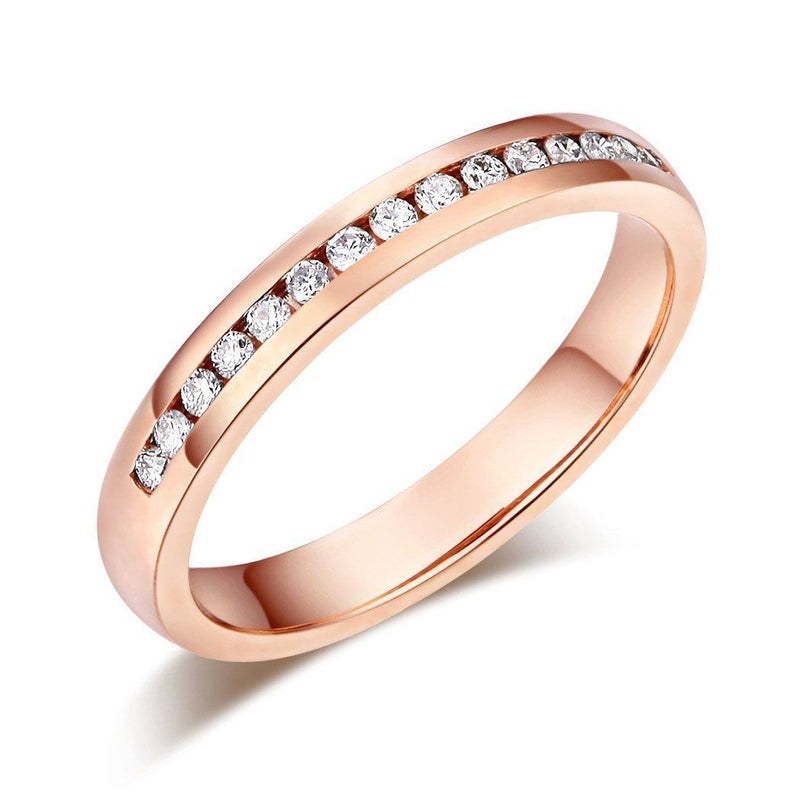 14k Rose Gold Ring with Diamonds (0.17ct) Women Wedding Bands Oanthan 14k White Gold US Size 4