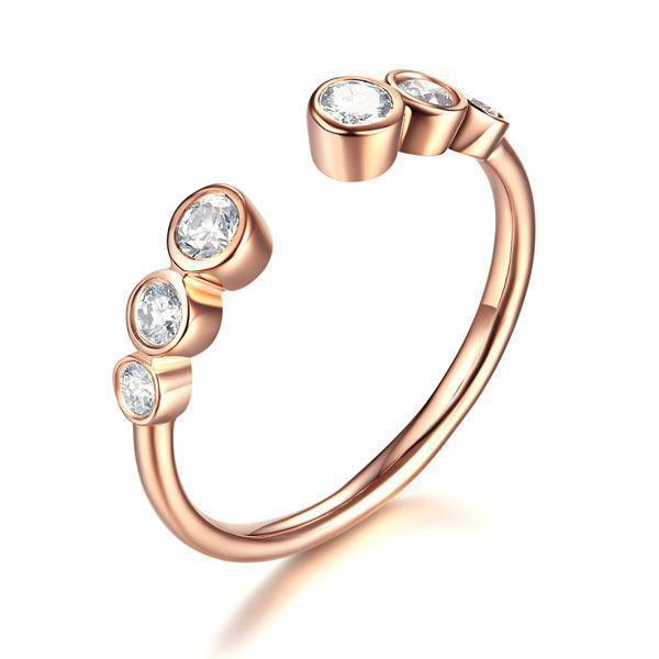 14k Rose Gold Ring with Diamonds (0.26ct) Women Wedding Bands Oanthan 14k White Gold US Size 4