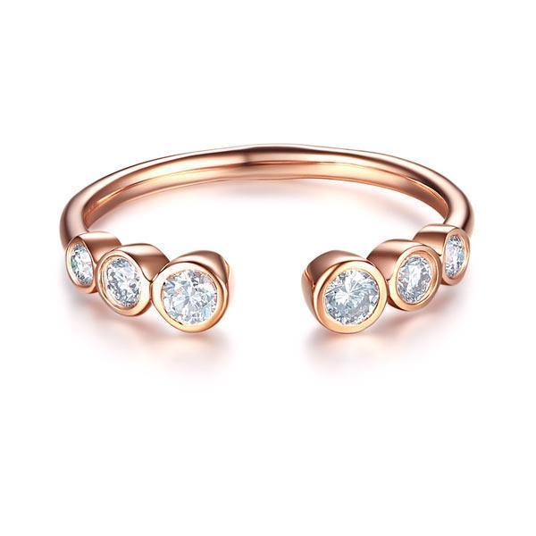 14k Rose Gold Ring with Diamonds (0.26ct) Women Wedding Bands Oanthan