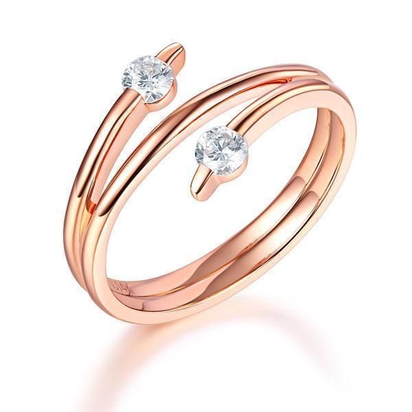 14k Rose Gold Ring with Diamonds (0.2ct) Her Wedding Band Oanthan 14k White Gold US Size 4