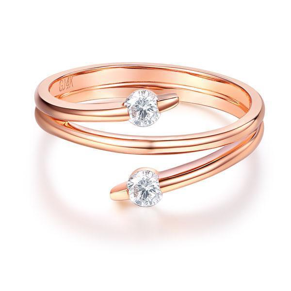 14k Rose Gold Ring with Diamonds (0.2ct) Her Wedding Band Oanthan