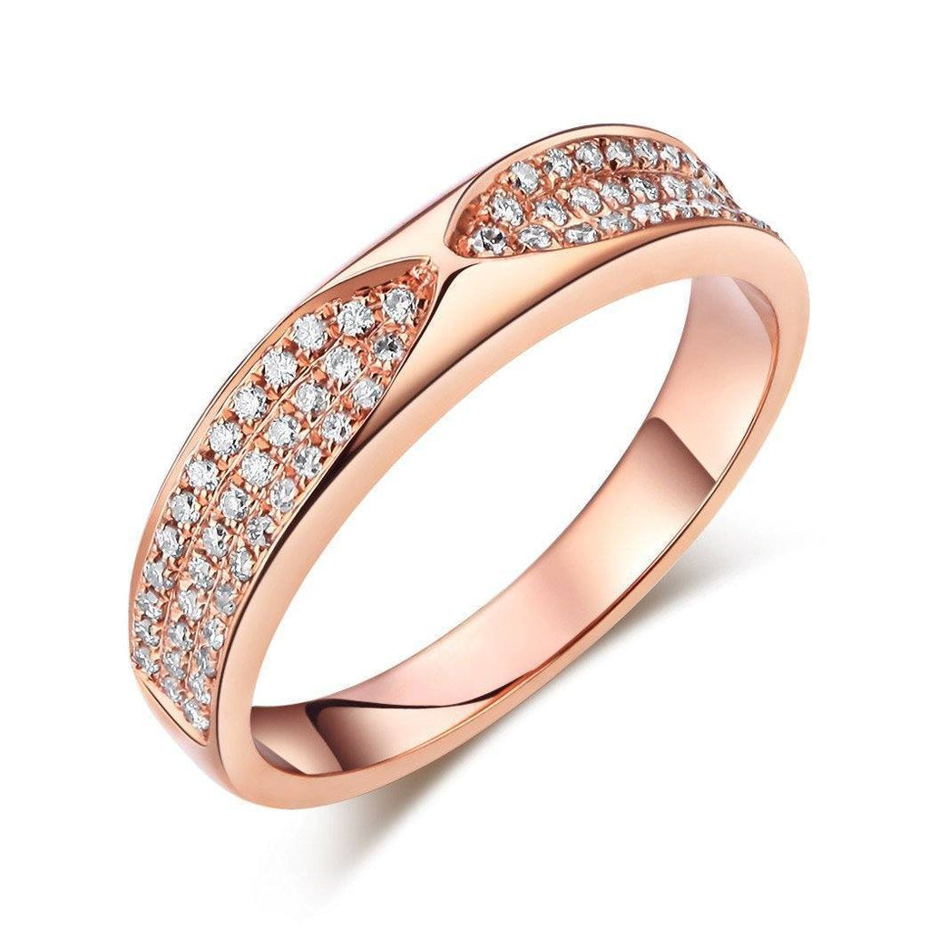 14k Rose Gold Ring with Diamonds (0.31ct) Women Wedding Bands Oanthan 14k White Gold US Size 4
