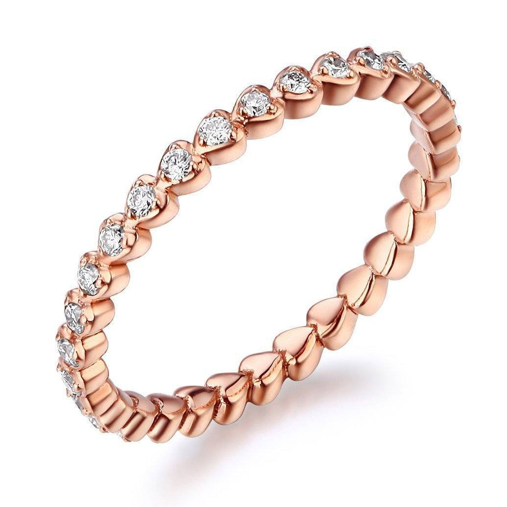 14k Rose Gold Stackable Heart Ring with Diamonds (0.33ct) Women Wedding Bands Oanthan 14k White Gold US Size 4