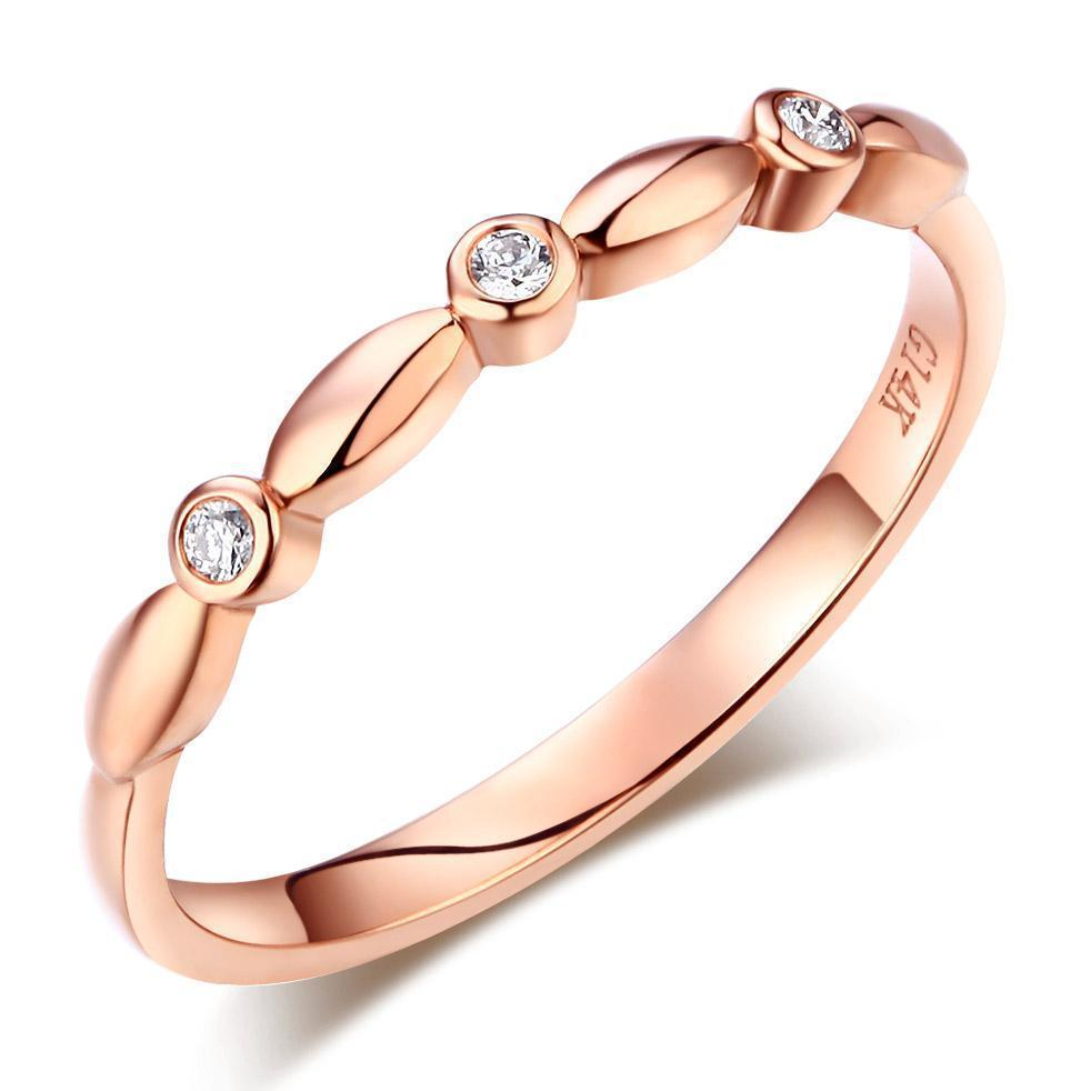 14k Rose Gold Stackable Ring with Diamonds (0.03ct) Women Wedding Bands Oanthan 14k White Gold US Size 4
