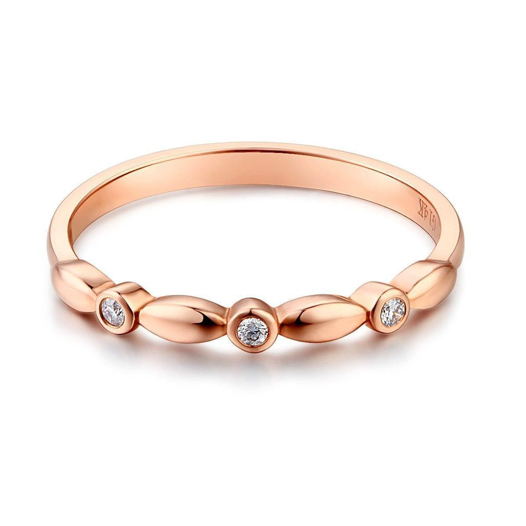 14k Rose Gold Stackable Ring with Diamonds (0.03ct) Women Wedding Bands Oanthan
