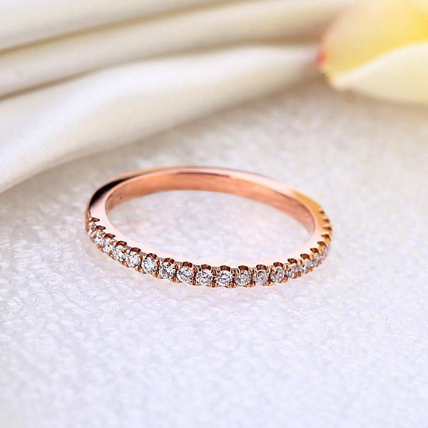 14k Rose Gold Stackable Ring with Diamonds (0.22ct) Women Wedding Bands Oanthan