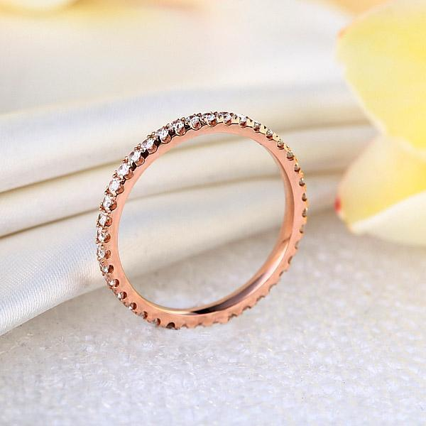 14K Rose Gold Stackable Ring with Diamonds (0.42ct) Women Wedding Bands Oanthan