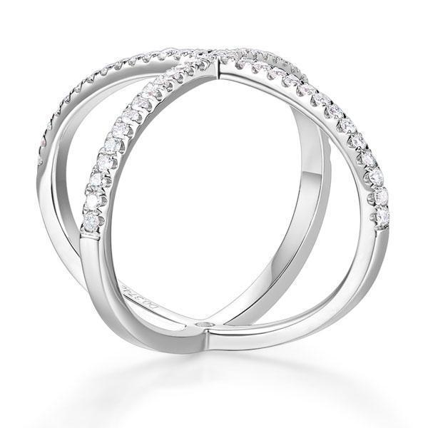 14k White Gold Crossover Ring with Diamonds (0.26ct) Women Wedding Bands Oanthan