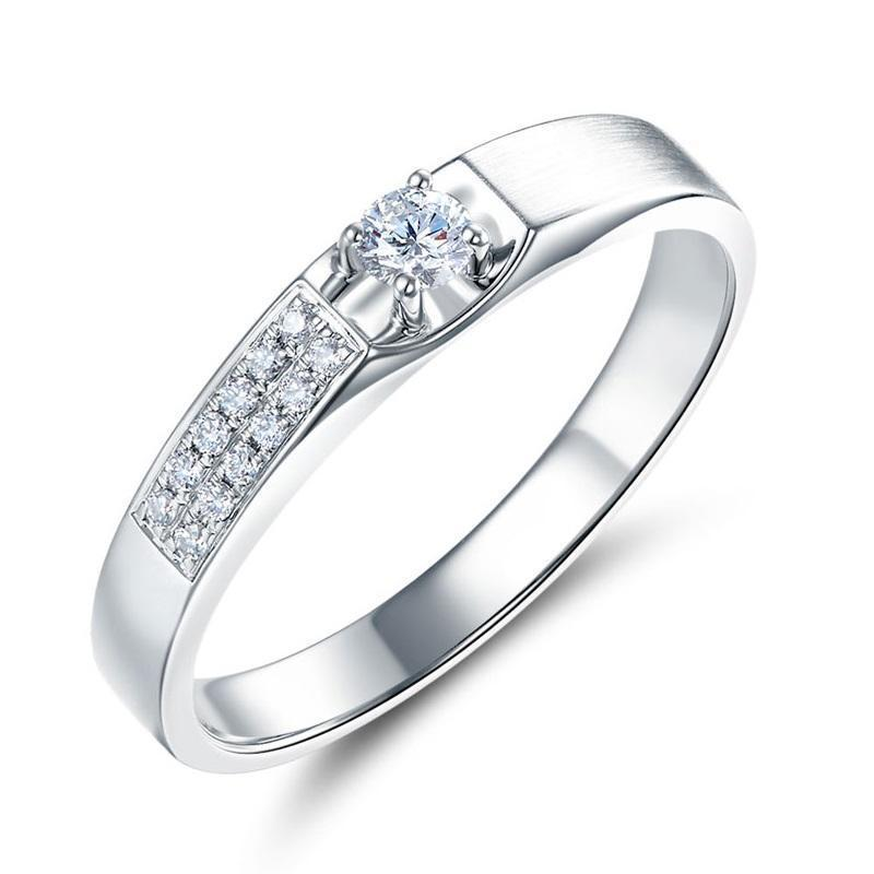 14k White Gold Ring with Diamonds (0.045ct) Her Wedding Band Oanthan 14k White Gold US Size 4