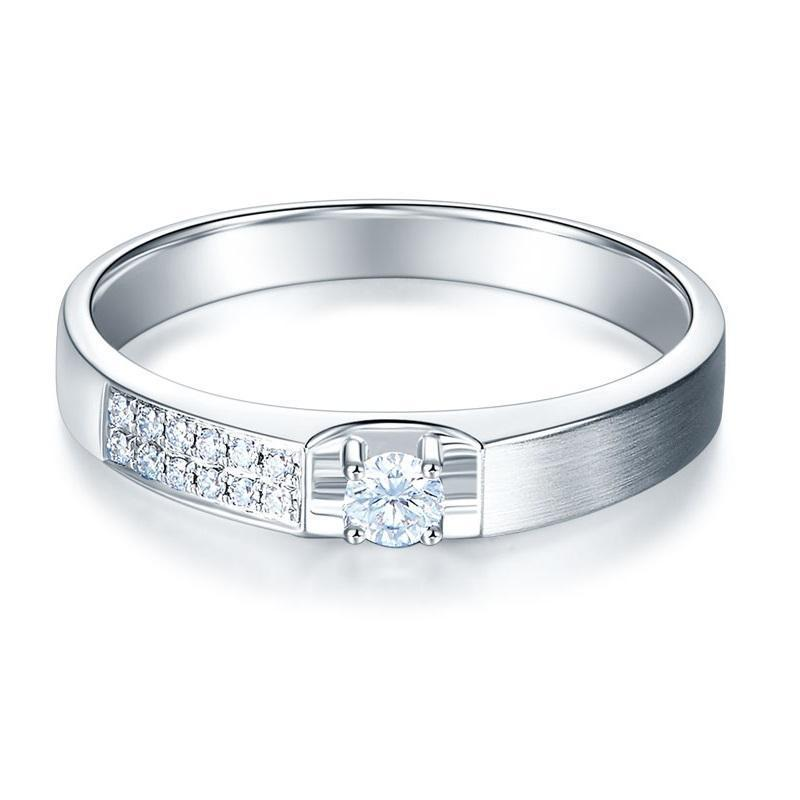 14k White Gold Ring with Diamonds (0.045ct) Her Wedding Band Oanthan