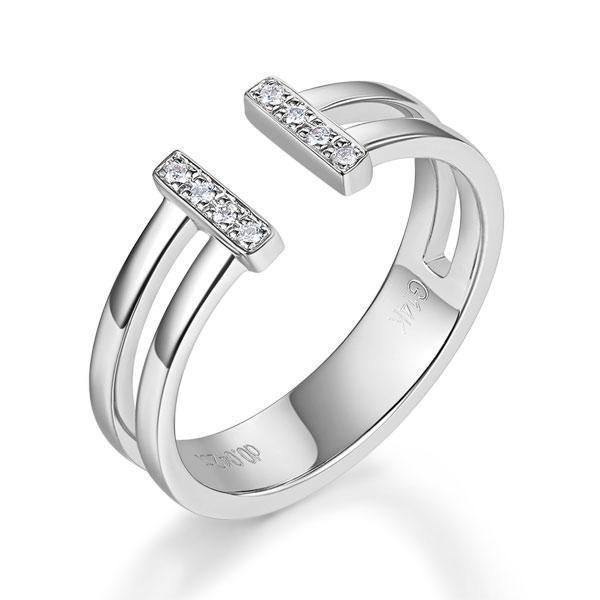 14k White Gold Ring with Diamonds (0.04ct) Women Wedding Bands Oanthan 14k White Gold US Size 4