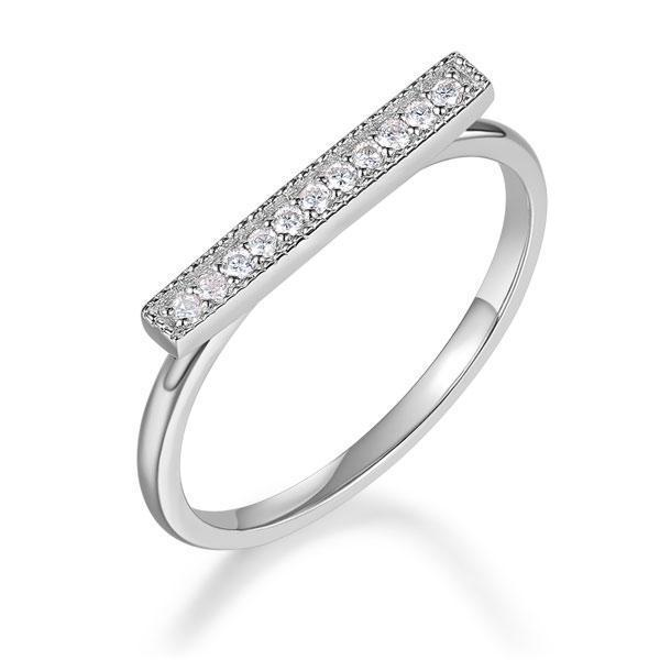 14k White Gold Ring with Diamonds (0.07ct) Women Wedding Bands Oanthan 14k White Gold US Size 4