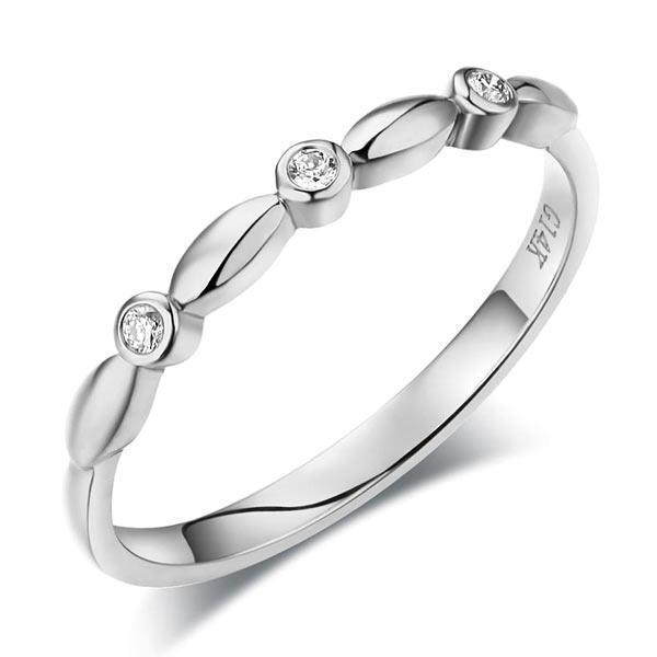 14k White Gold Stackable Ring with Diamonds (0.03ct) Women Wedding Bands Oanthan 14k White Gold US Size 4