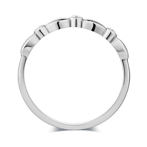 14k White Gold Stackable Ring with Diamonds (0.03ct) Women Wedding Bands Oanthan