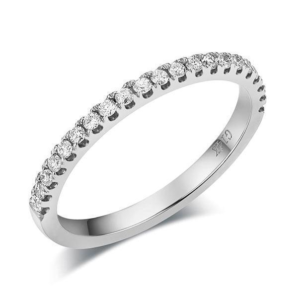 14k White Gold Stackable Ring with Diamonds (0.22ct) Women Wedding Bands Oanthan 14k White Gold US Size 4