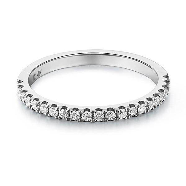 14k White Gold Stackable Ring with Diamonds (0.22ct) Women Wedding Bands Oanthan