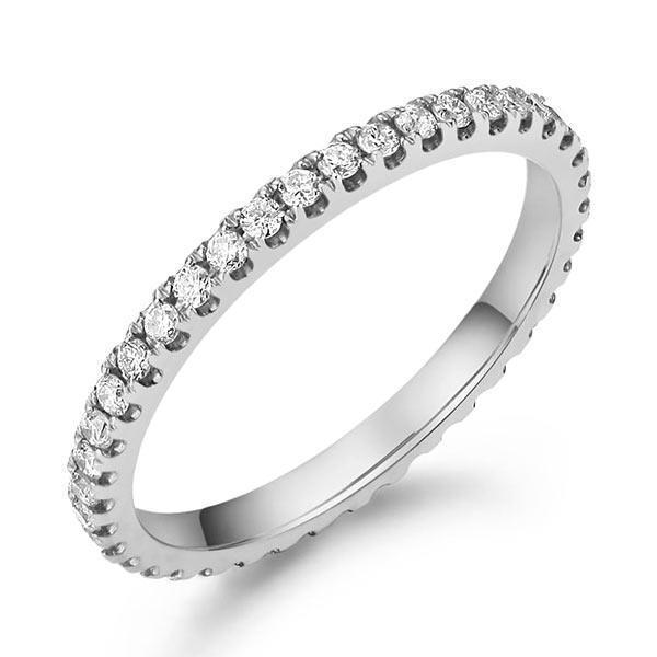 14k White Gold Stackable Ring with Diamonds (0.42ct) Women Wedding Bands Oanthan