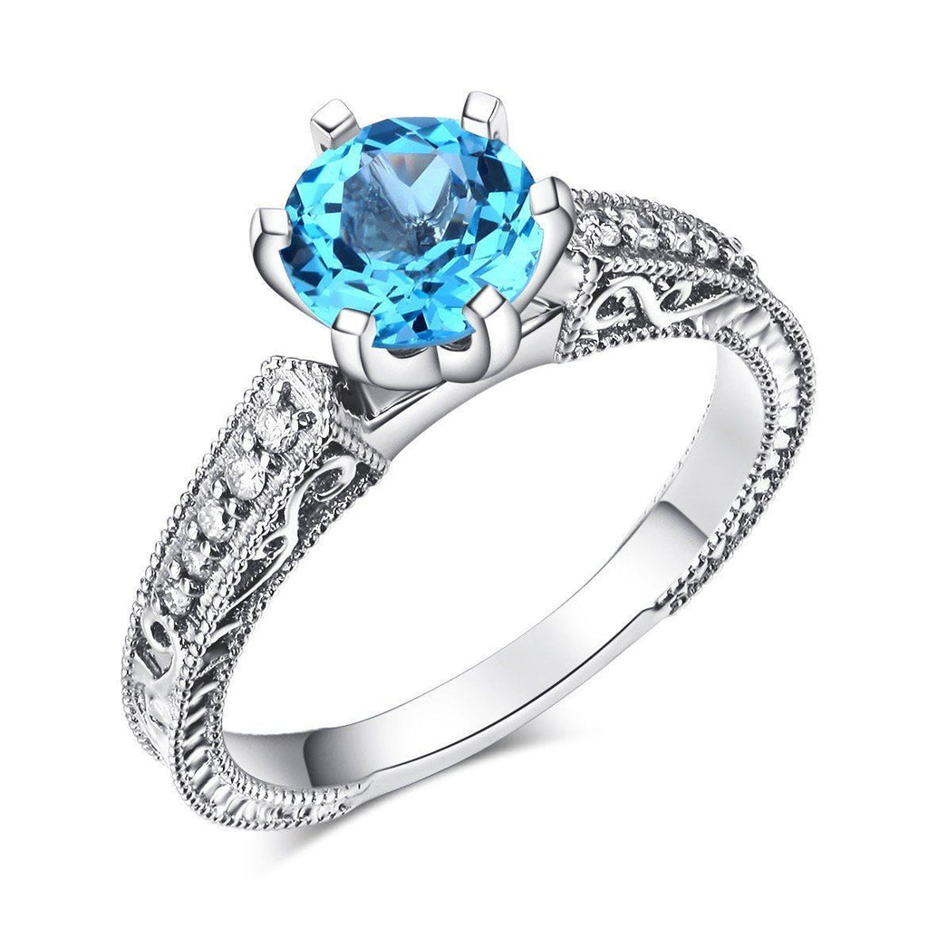 14k White Gold Vintage-style Engagement Ring with Swiss Blue Topaz & Diamonds (0.13ct) 14K Gold Engagement Rings Oanthan 14k White Gold US Size 4