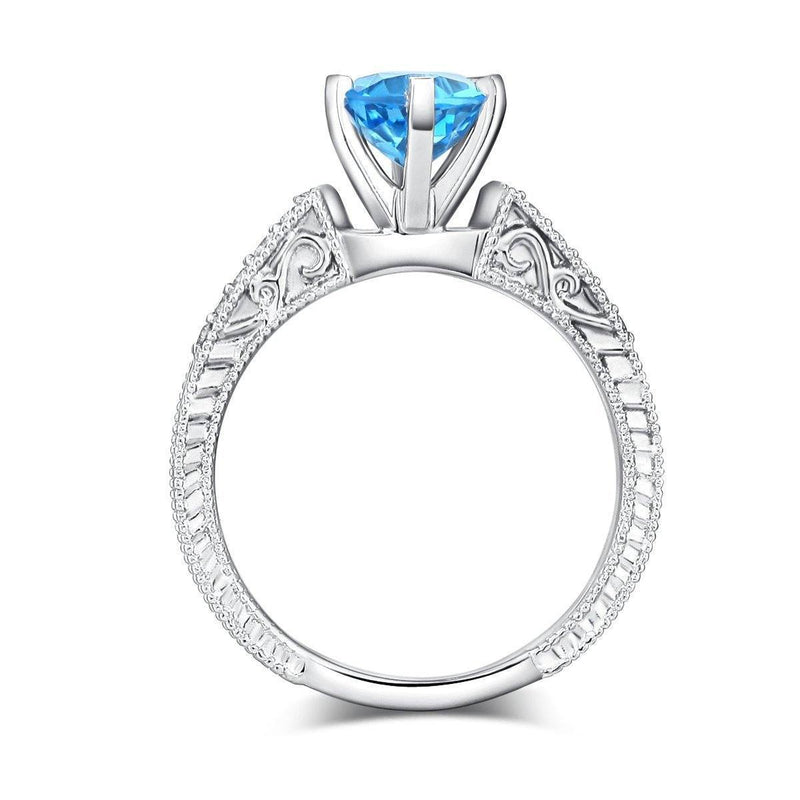 14k White Gold Vintage-style Engagement Ring with Swiss Blue Topaz & Diamonds (0.13ct) 14K Gold Engagement Rings Oanthan