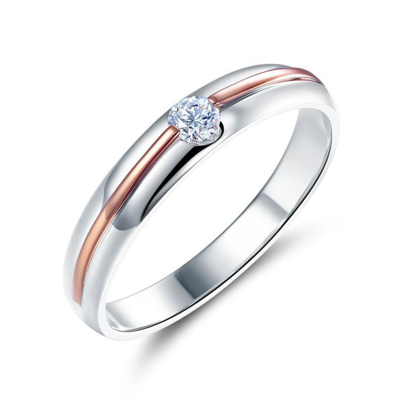 14k White & Rose Gold Ring with Diamond (0.115ct) Her Wedding Band Oanthan White with Rose Gold US Size 4