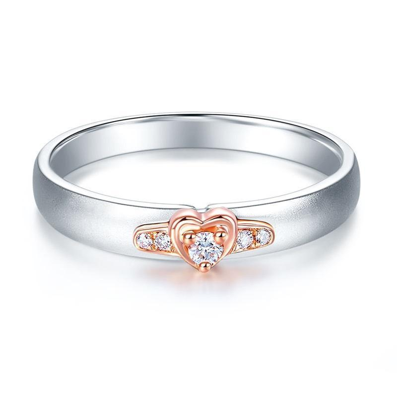 14k White & Rose Gold Ring with Diamonds (0.03ct) Her Wedding Band Oanthan