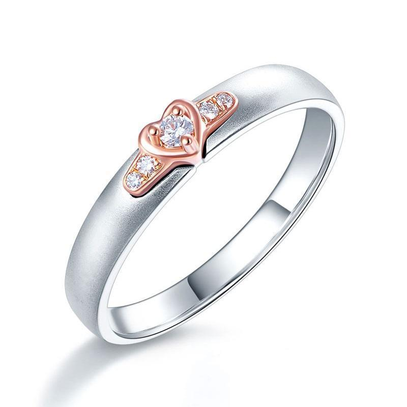 14k White & Rose Gold Ring with Diamonds (0.03ct) Her Wedding Band Oanthan White with Rose Gold US Size 4