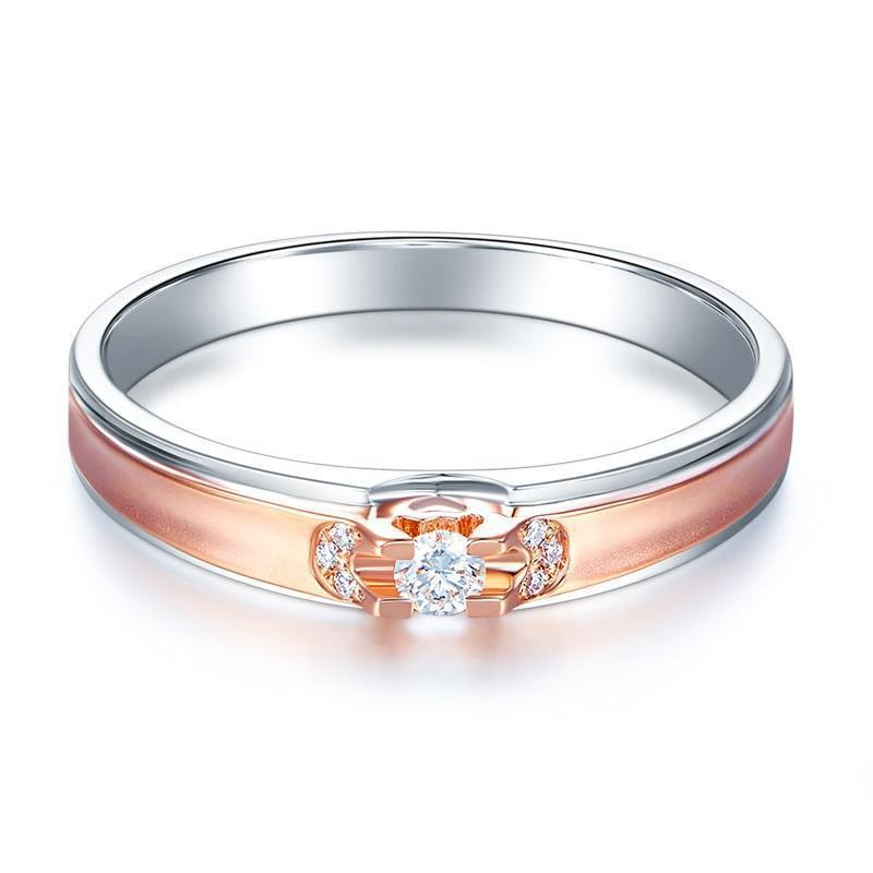 14k White & Rose Gold Ring with Diamonds (0.07ct) Her Wedding Band Oanthan