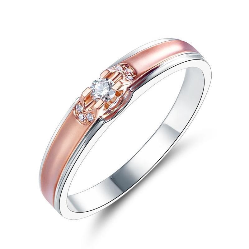 14k White & Rose Gold Ring with Diamonds (0.07ct) Her Wedding Band Oanthan White with Rose Gold US Size 4