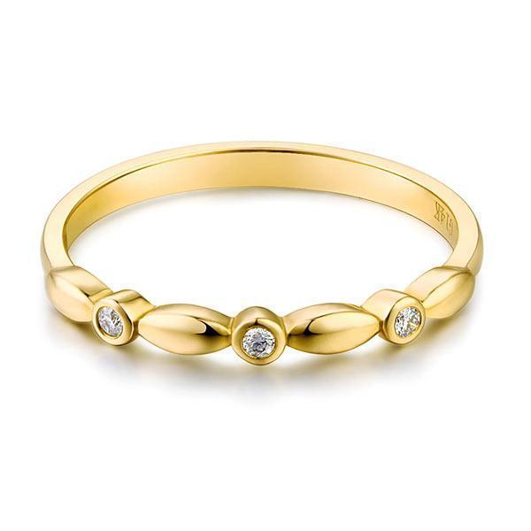 14k Yellow Gold Stackable Ring with Diamonds (0.03ct) Women Wedding Bands Oanthan