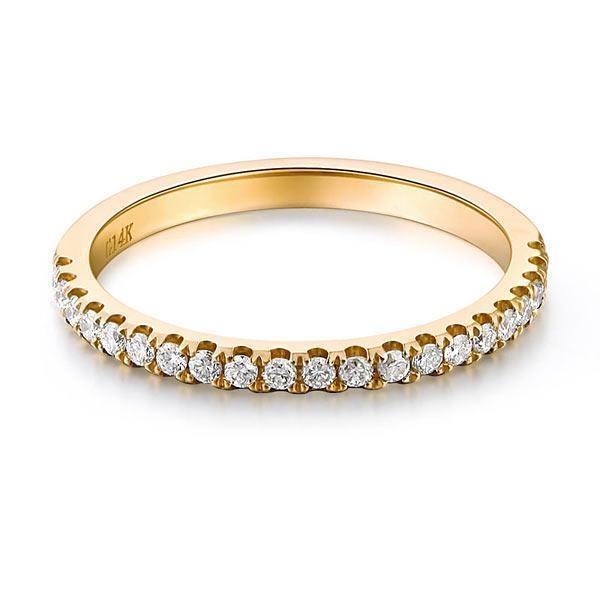 14k Yellow Gold Stackable Ring with Diamonds (0.225ct) Women Wedding Bands Oanthan