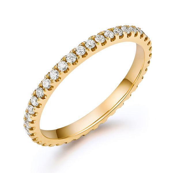 14k Yellow Gold Stackable Ring with Diamonds (0.42ct) Women Wedding Bands Oanthan