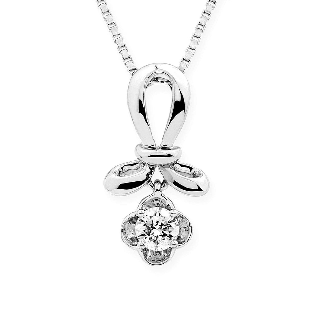18k White Gold Infinite Ribbons Pendant with 0.186ct Diamonds Pendant IAD