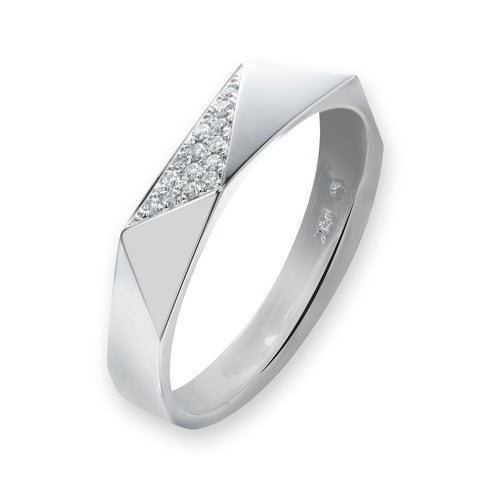 Men's Ring in 18k White Gold with Diamonds (0.025ct)