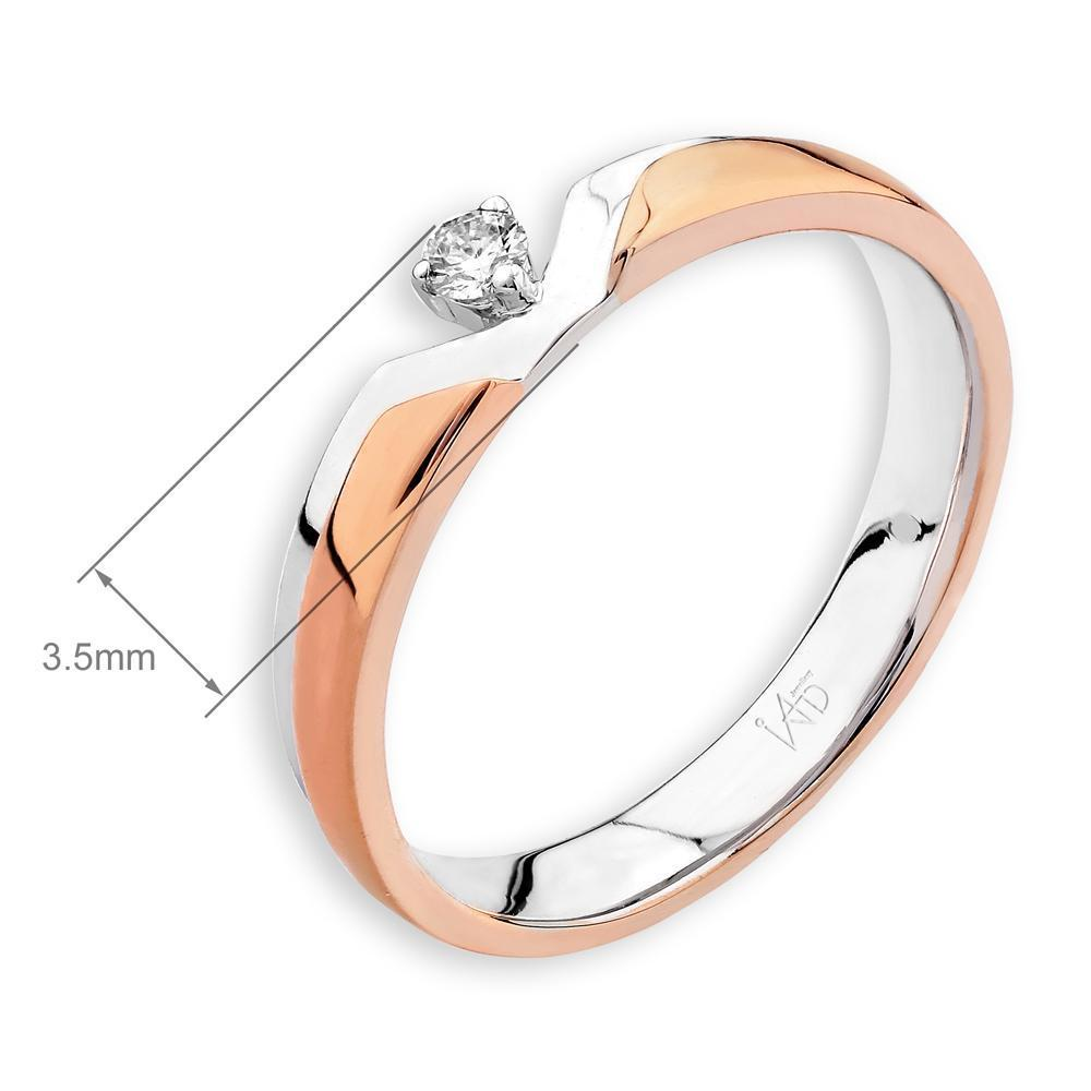 18k White & Rose Gold Ring with Diamonds (0.047ct) Ring IAD