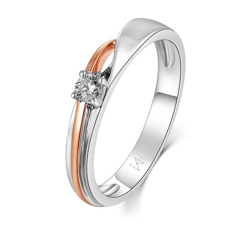 18k White & Rose Gold Ring with Diamonds (0.374ct)