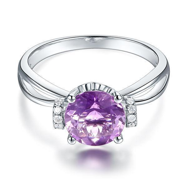 Amethyst (1.8ct) Ring in 14k White Gold with Diamonds (0.1ct) 14K Gold Engagement Rings Oanthan