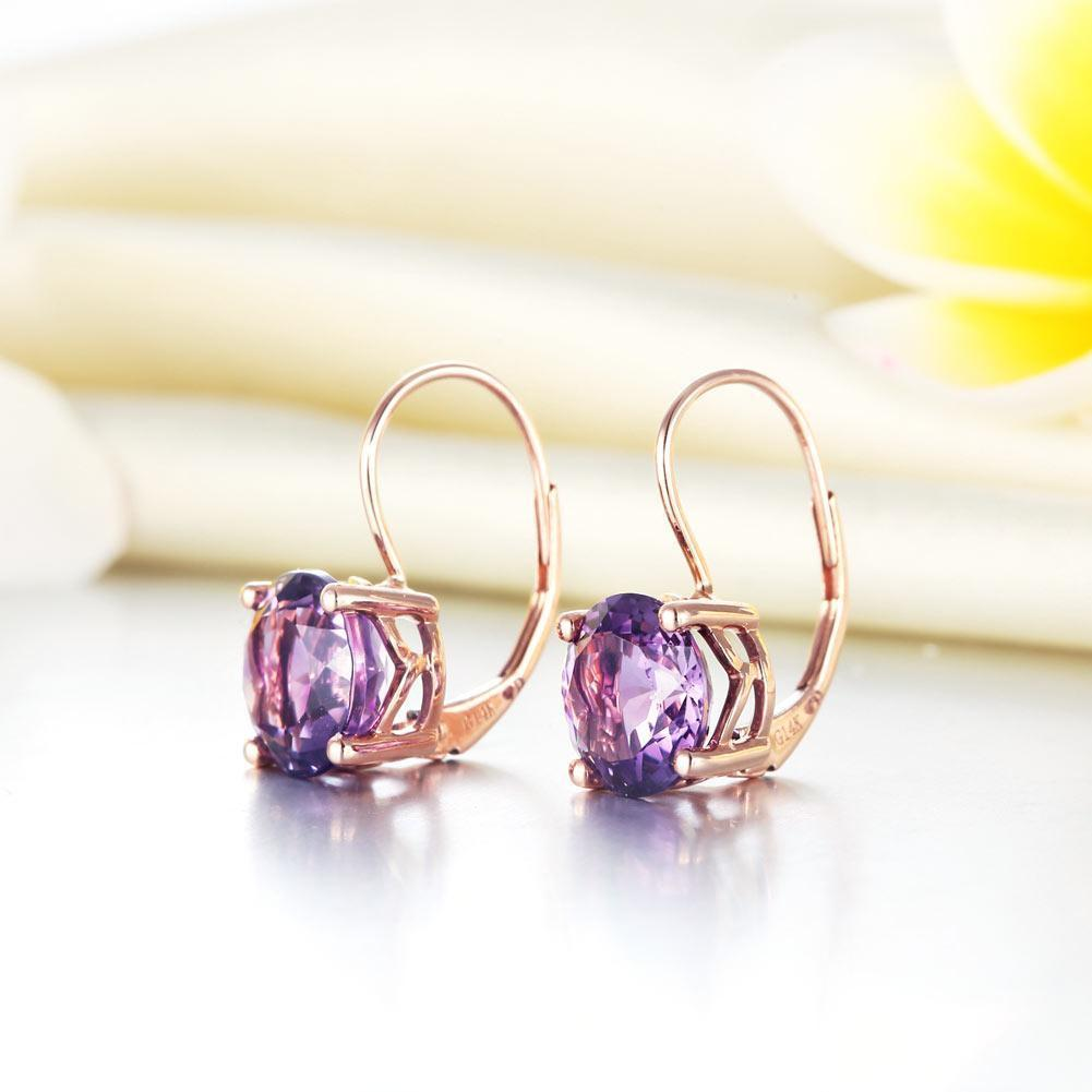 Amethyst (2ct) Earrings in 14k Rose Gold 14K Gold Earrings Oanthan